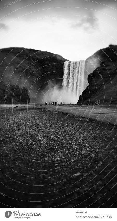 Skógafoss Nature Landscape Summer Autumn Waterfall Moody Mountain Stone Iceland Travel photography Far-off places Massive Torrents of water Black & white photo