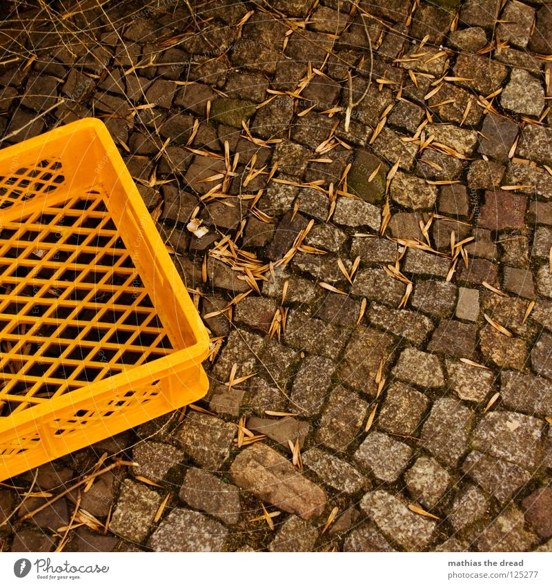 basket Mosaic Small Hard Cold Muddled Offset Size difference Leaf Autumn Gloomy Dark Basket Yellow Loop Corner Rectangle Square Material Empty Loneliness
