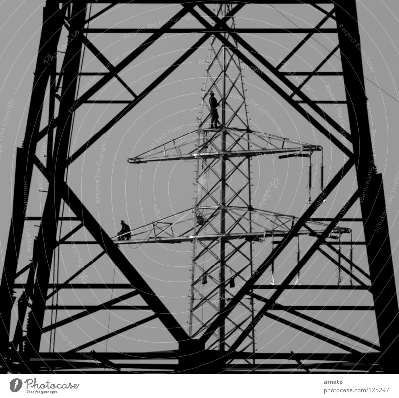 roamer Electricity Electricity pylon Working man Wire Provision Repair Dangerous Teamwork Dependability Vista Craft (trade) Level Rope Ladder Collateralization