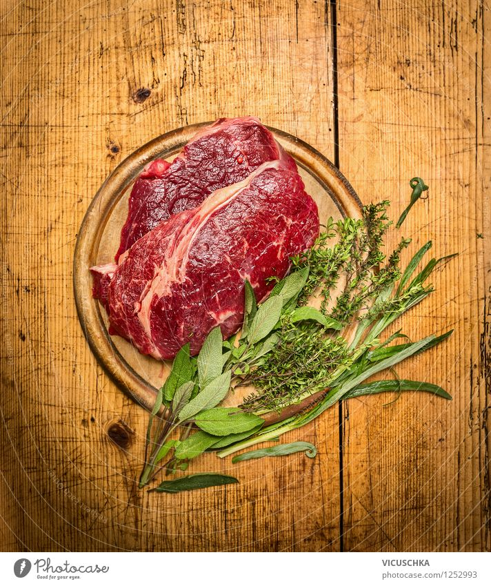 Roast beef with herbs on a rustic wooden table Food Meat Herbs and spices Nutrition Banquet Organic produce Diet Style Design Healthy Eating