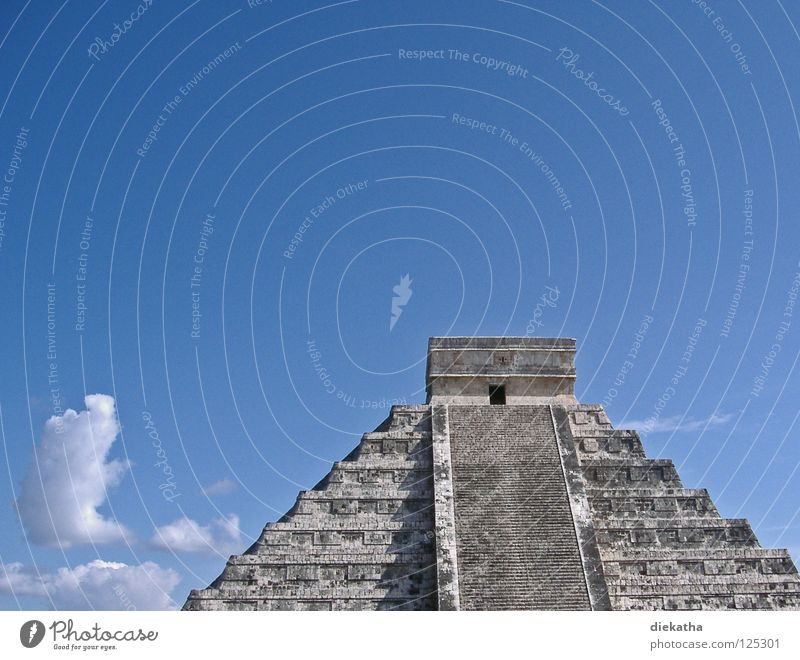 Sky Blue Clouds Stone Tall Stairs Culture Climbing Science & Research Upward Ascending Mexico Deities Yucatan Pyramid