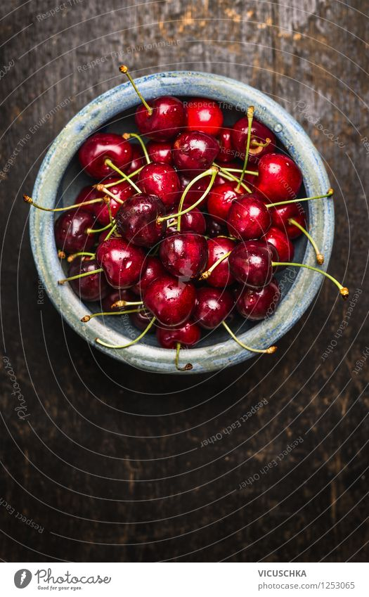 Sweet cherries in a blue bowl on a dark wooden table Food Fruit Nutrition Breakfast Organic produce Vegetarian diet Diet Bowl Style Design Healthy Eating Life