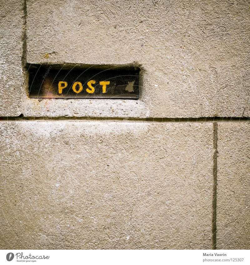 Wall (building) Wall (barrier) Characters Newspaper Letters (alphabet) Write Services Box Email Mail Magazine Plaster Mailbox Postman Interject Zip code