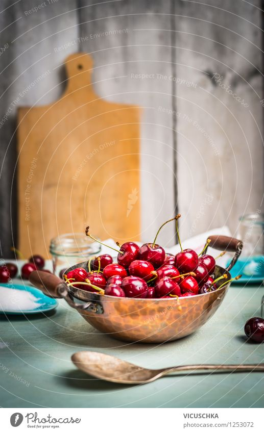 Cherries in an old pot on the kitchen table Food Fruit Dessert Nutrition Organic produce Vegetarian diet Diet Plate Bowl Pot Glass Spoon Lifestyle Style Design