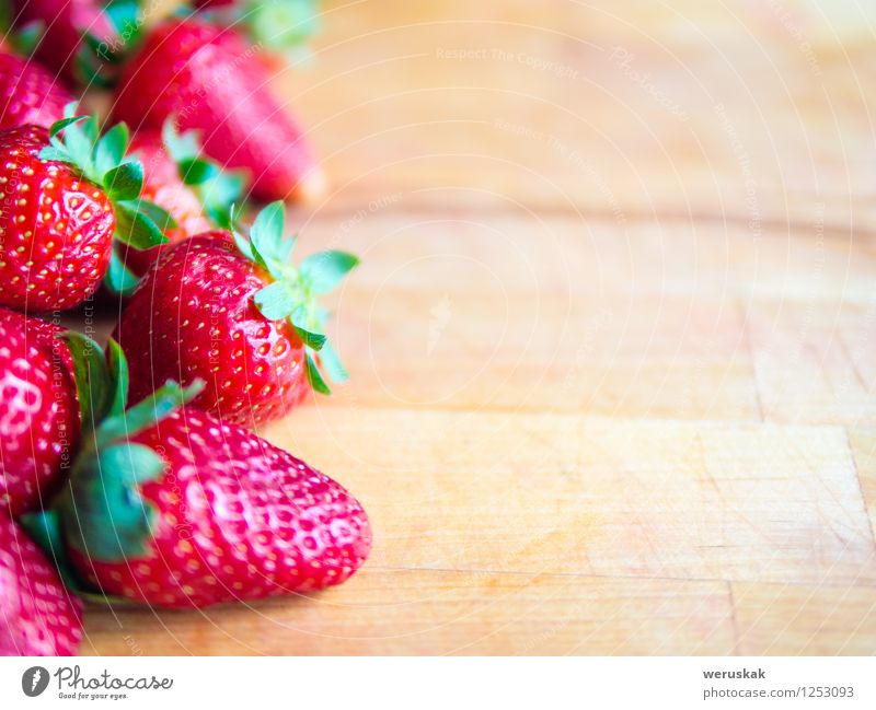 Strawberries on a wooden board with empty space Green Summer Red Natural Healthy Brown Fruit Decoration Fresh Nutrition Sweet Delicious Berries Juicy Strawberry