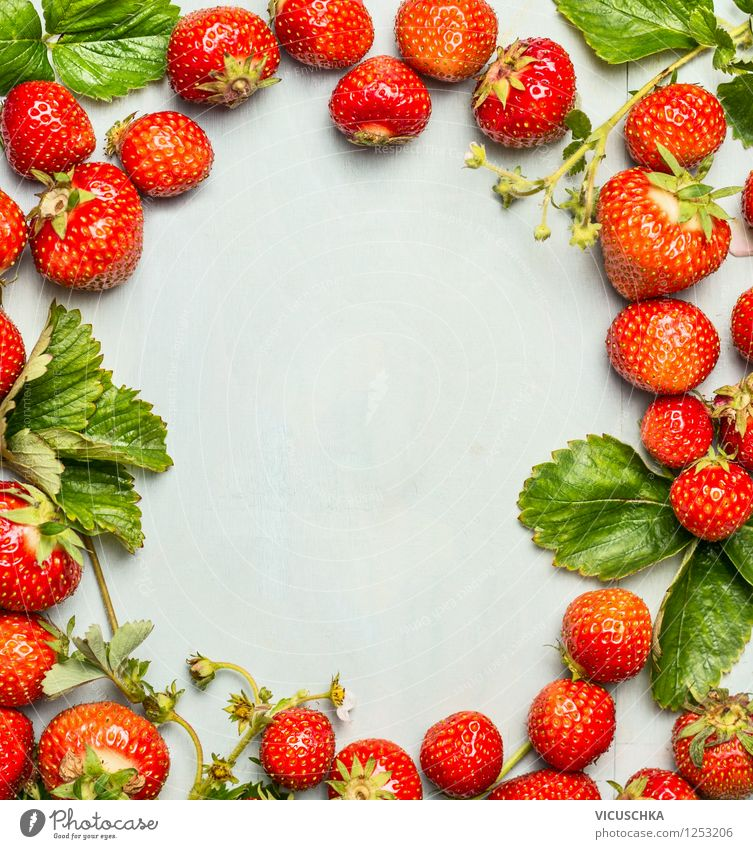 Background with strawberry frame Food Fruit Nutrition Organic produce Vegetarian diet Diet Style Design Healthy Eating Life Garden Nature Background picture