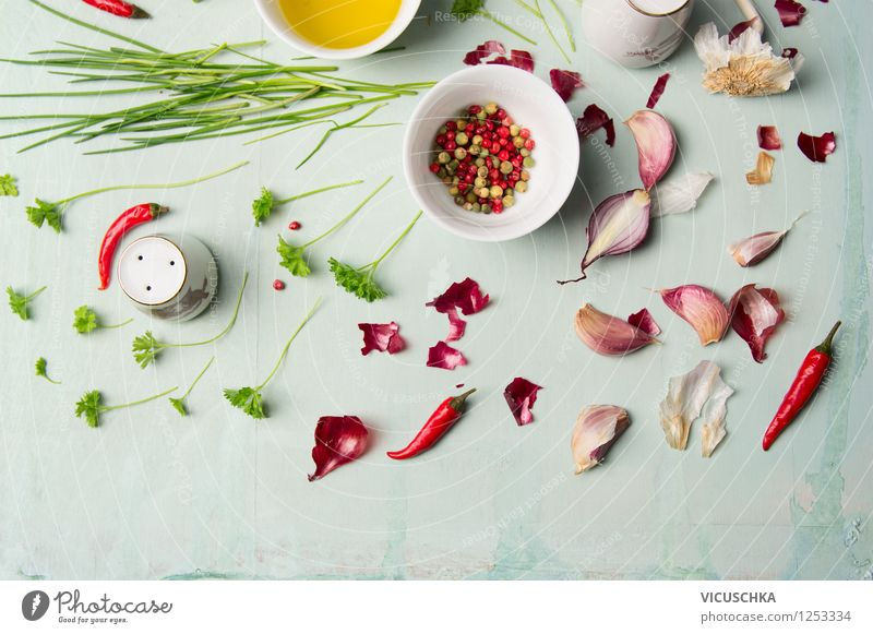 Colourful herbs and spices for delicious cooking Food Vegetable Herbs and spices Cooking oil Nutrition Organic produce Vegetarian diet Diet Bowl Style Design