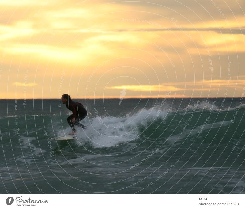 SUNRISE SURF II New Zealand South Island Surfer Surfboard Jump Aquatics p.b. waves breaking sea exciting Cool (slang) fun watching sunrise early in the morning