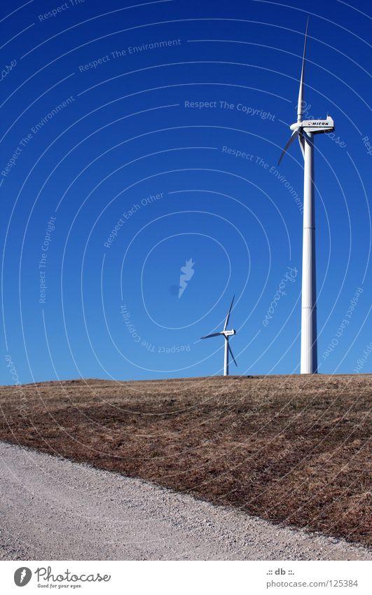 Blue Summer Winter Autumn Lanes & trails Power Field Wind Force Wind energy plant