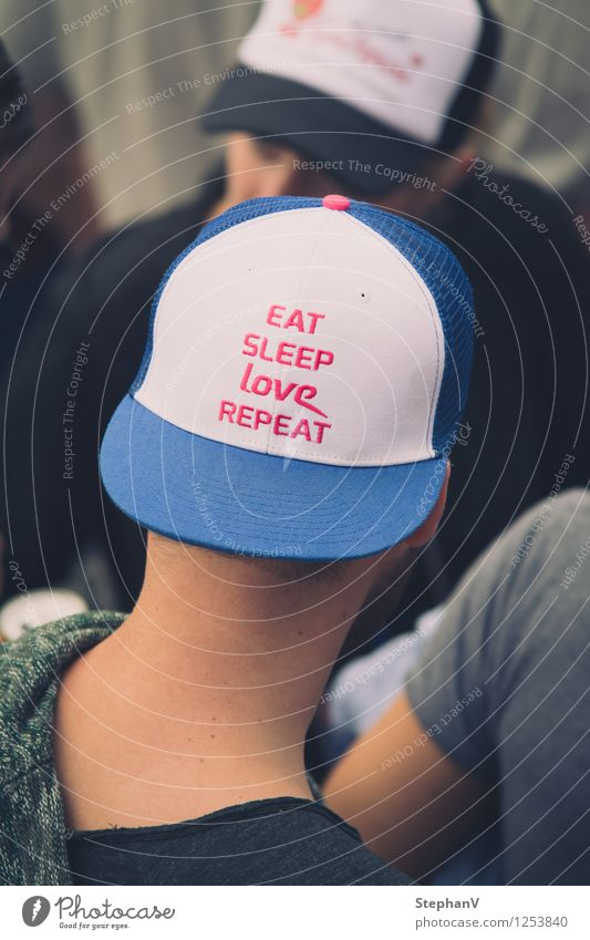 Eat Sleep Love Repeat Masculine Young man Youth (Young adults) 2 Human being Youth culture Event Shows Party Concert Outdoor festival cap Blue Pink White