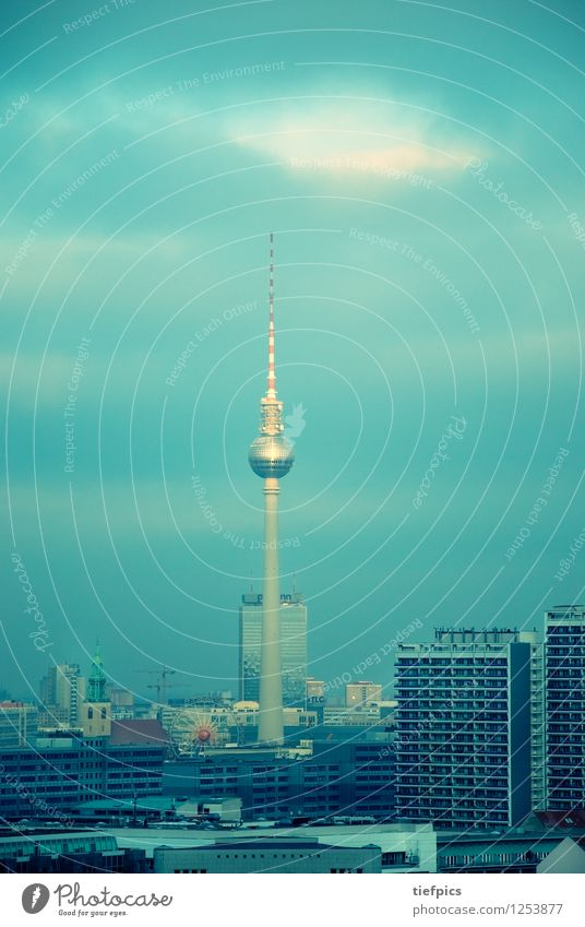 Berlin Television Tower Town Skyline High-rise Building Architecture Facade Retro Blue Green Television tower GDR Middle park inn Set meal colors