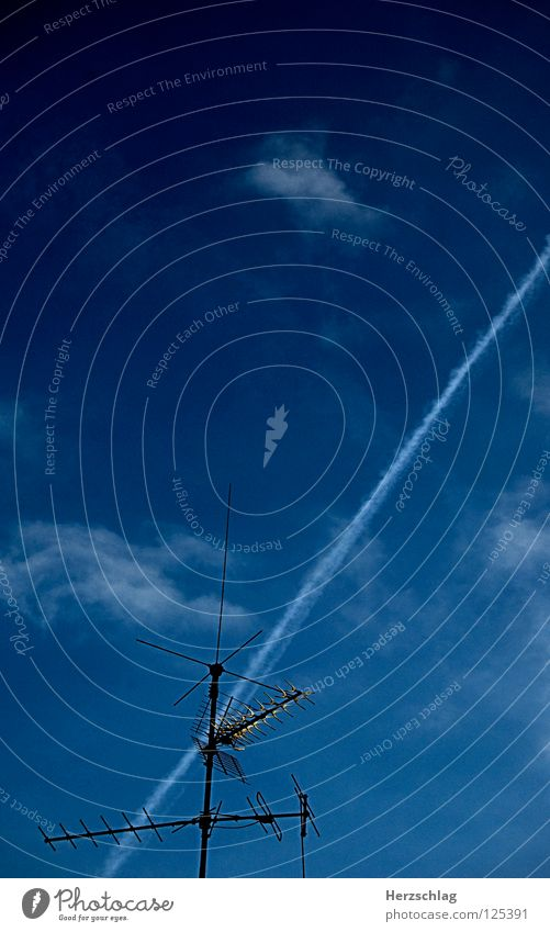In the reception area Antenna Sky Vapor trail Airplane Blue Freedom Life Emotions Fear
