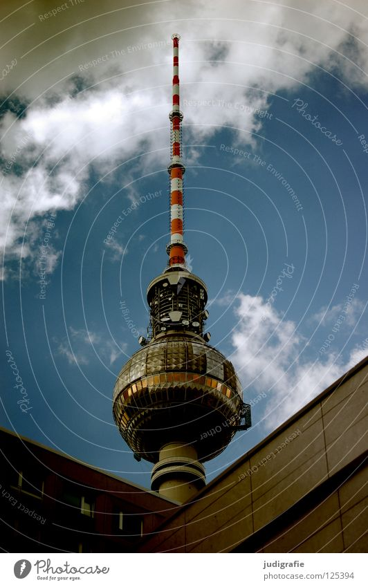 Sky White City Red Clouds Colour Berlin Art Monument GDR Landmark Antenna Berlin TV Tower Welcome