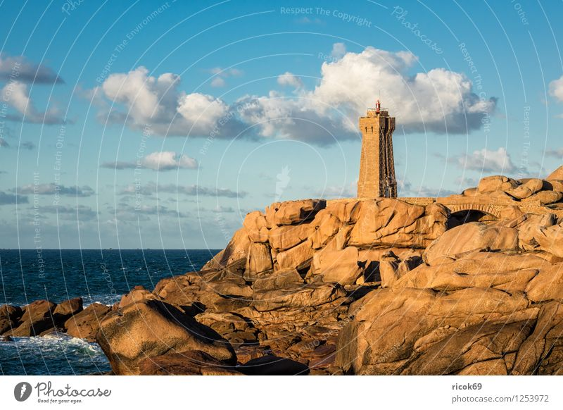 Nature Vacation & Travel Relaxation Landscape Clouds Coast Stone Rock Tourist Attraction France Lighthouse Atlantic Ocean Granite Brittany Geology