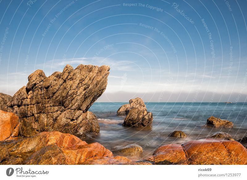 Nature Vacation & Travel Relaxation Landscape Clouds Coast Stone Rock Tourism Tourist Attraction France Atlantic Ocean Granite Brittany Geology