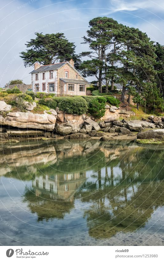Nature Vacation & Travel Tree Relaxation Landscape Clouds House (Residential Structure) Coast Building Stone Rock Tourist Attraction France Atlantic Ocean