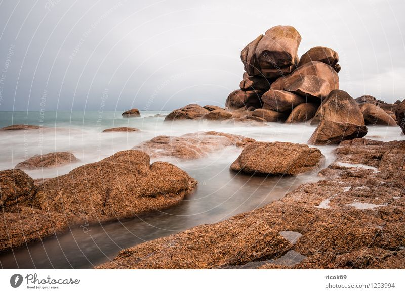 Nature Vacation & Travel Relaxation Landscape Clouds Coast Stone Rock Tourist Attraction France Atlantic Ocean Granite Brittany Geology Cote de Granit Rose