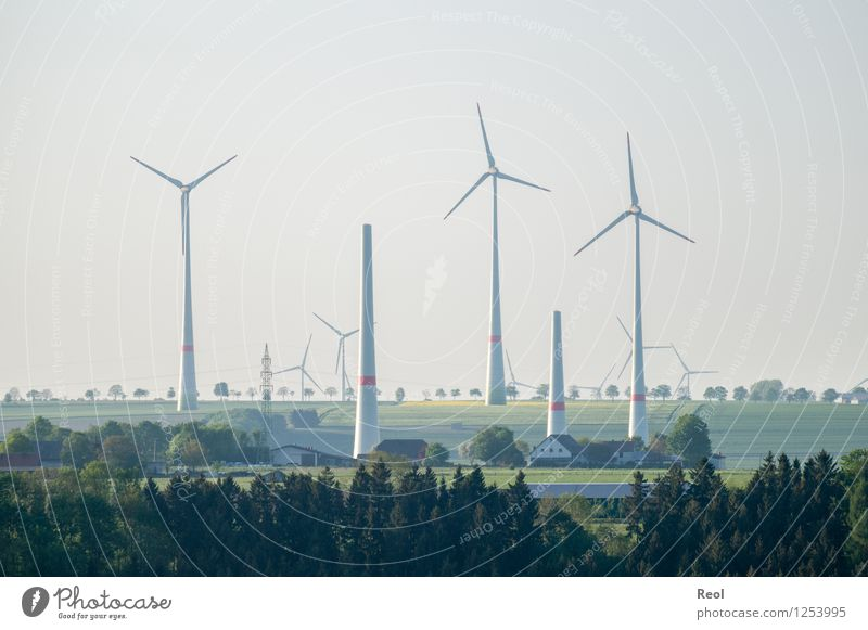 windmills Technology Energy industry Renewable energy Wind energy plant Energy crisis Nature Landscape Climate change Field Forest Environment