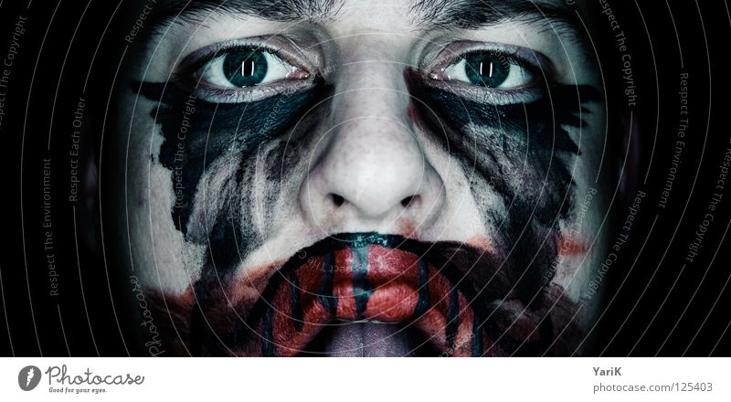 psycho clown III Dark Creepy Bathroom Evil Lifeless Facial painting Apply make-up Make-up Wearing makeup Red Gray Black Cyan Green Multicoloured Grief Fear