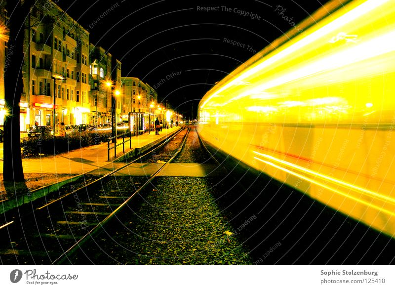 Urban Movement Night Speed Light Tram Long exposure Berlin Street