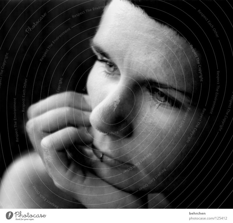 daydream Think Black White Dream Dreamily Portrait photograph Hand Fingers Nasal piercing Lip piercing Piercing Woman Emotions Black & white photo Concentrate