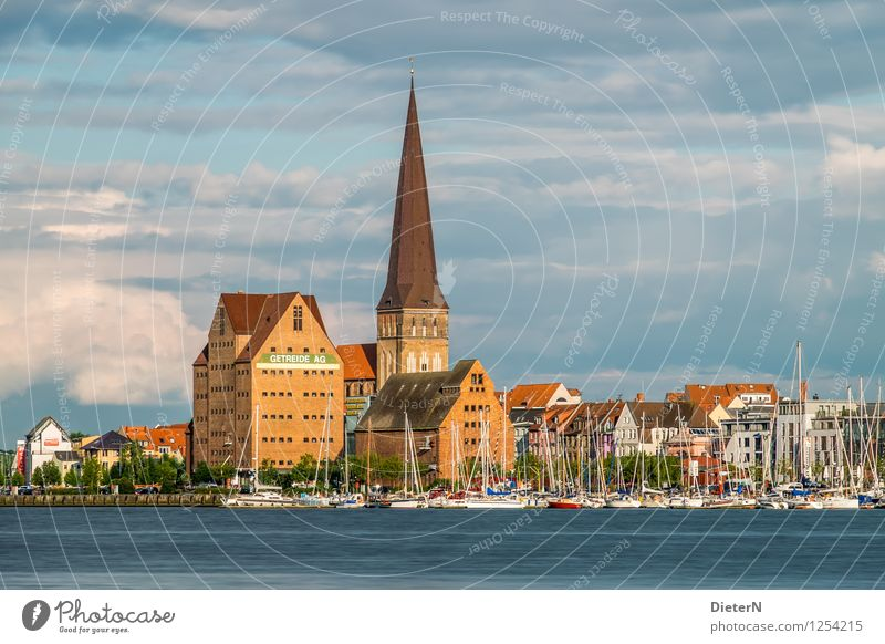 On the other bank Rostock Town Downtown Old town Deserted Church Harbour Manmade structures Building Architecture Tourist Attraction Landmark Blue Brown Gold