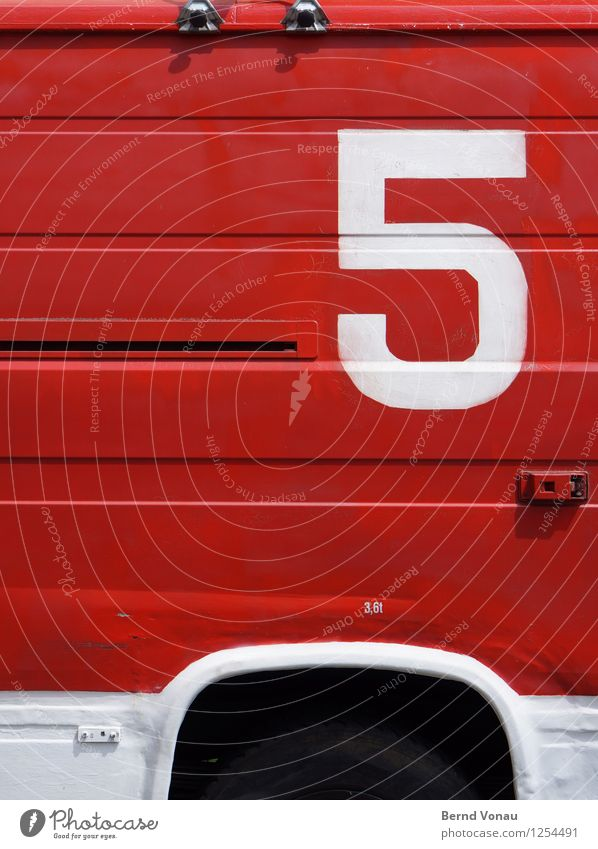 Old White Red Black Line Retro Digits and numbers Painted 5 Truck Motoring Weight Tin Screw Means of transport Fire department