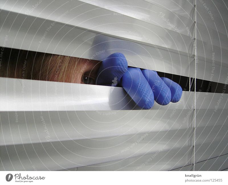 blue Gloves Latex Venetian blinds Glittering Dark Strand of hair Fingers Hand Blue blue eye Disk Silver Reflection Bright Looking Hair and hairstyles Hide