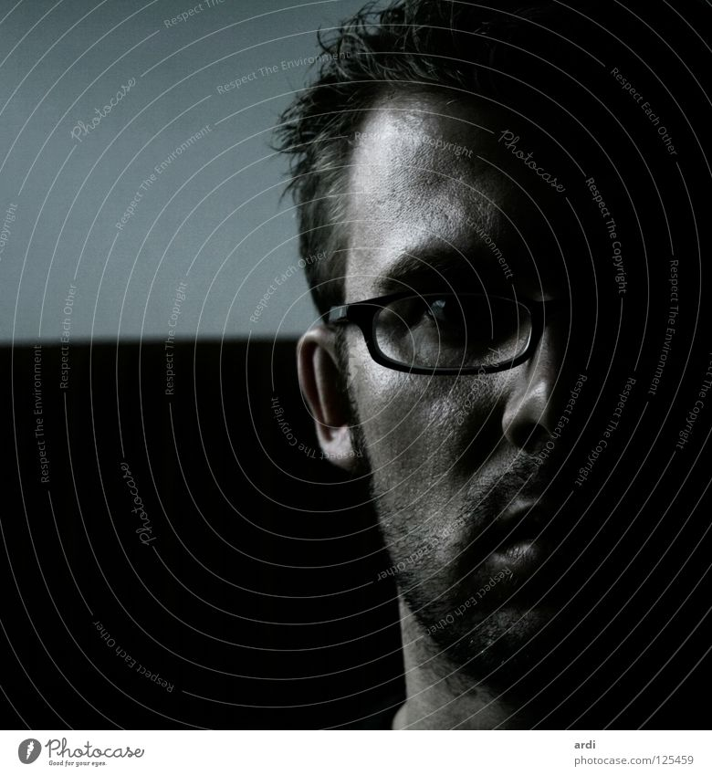 Human being Man Face Loneliness Dark Style Fear Eyeglasses Facial hair Guy Thought Resolve Stubble Unshaven