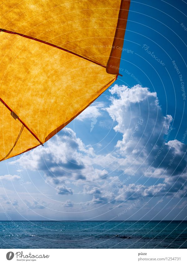 parasol Swimming & Bathing Vacation & Travel Far-off places Freedom Summer Summer vacation Sun Sunbathing Beach Ocean Nature Water Sky Clouds Sunlight North Sea