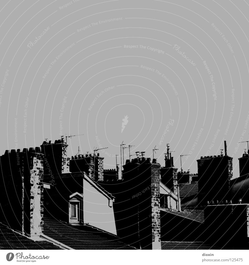 Les Toits De Lyon #2 Black White Gray Roof Window Shutter Attic story Antenna France House (Residential Structure) Town house (City: Block of flats)