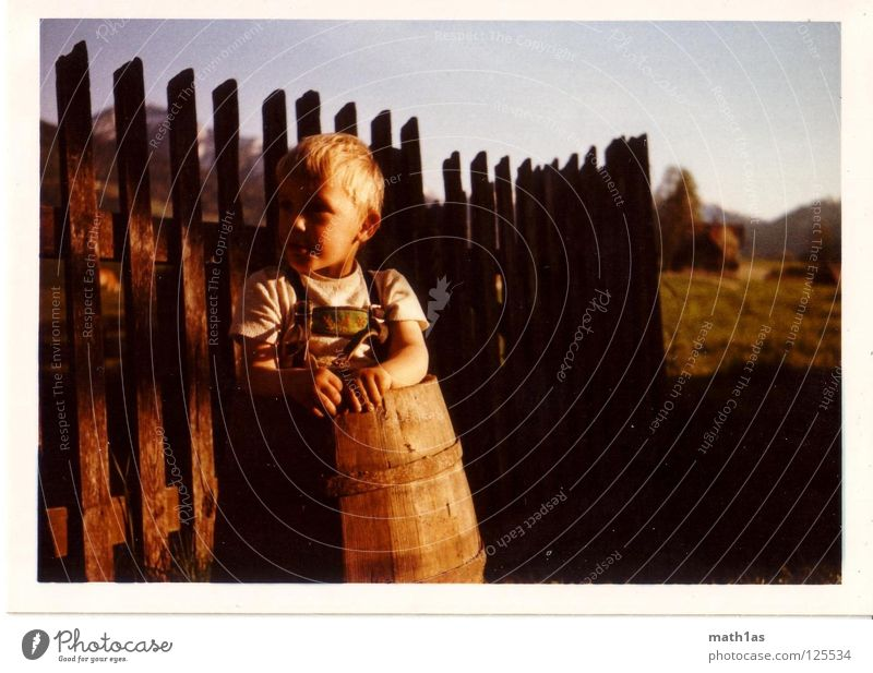 Sky Nature Meadow Boy (child) Wood Blonde Agriculture Shirt Fence GDR Costume Keg Leather shorts Old-school Forest-dweller