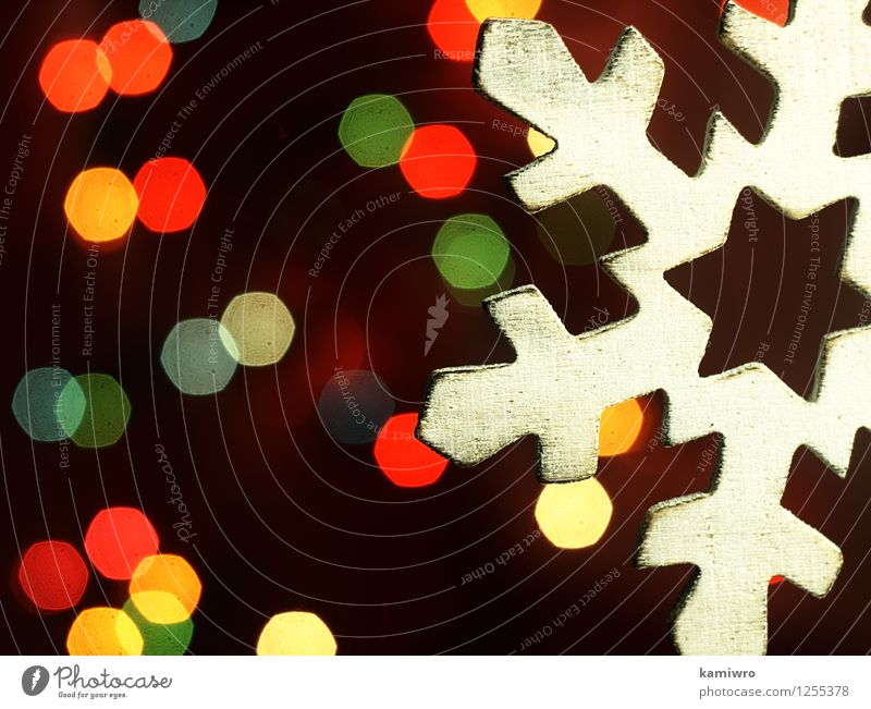 Wooden snowflake and Christmas lights. Christmas & Advent Green Beautiful Colour Red Winter Snow Happy Feasts & Celebrations Art Bright Glittering Design