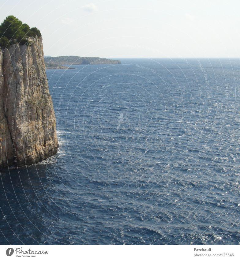 Ocean Blue Beach Stone Line Waves Coast Horizon Rock Tall Island Cliff Steep National Park Croatia Minerals