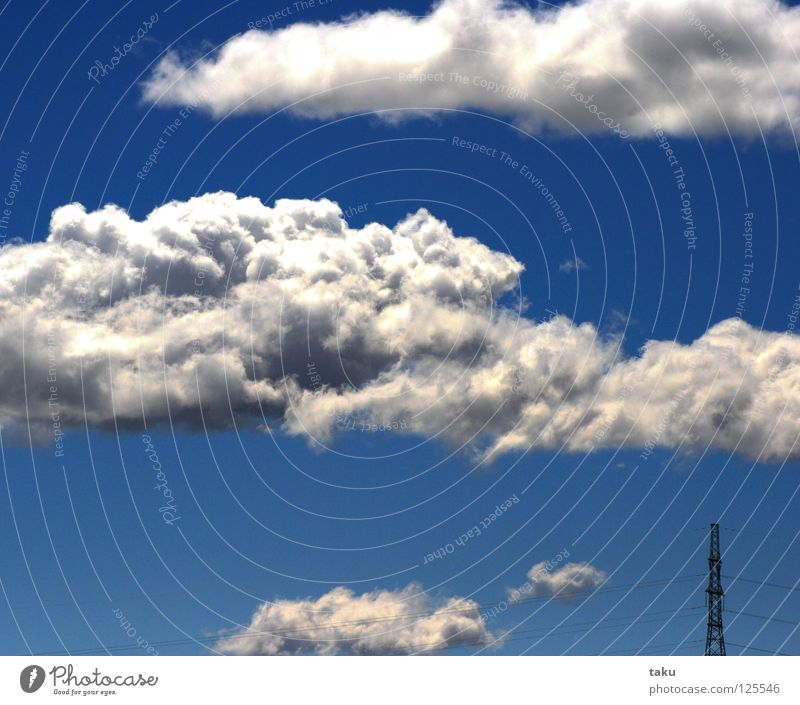 Sky White Blue Summer Clouds Electricity Soft Clarity Hot Electricity pylon New Zealand