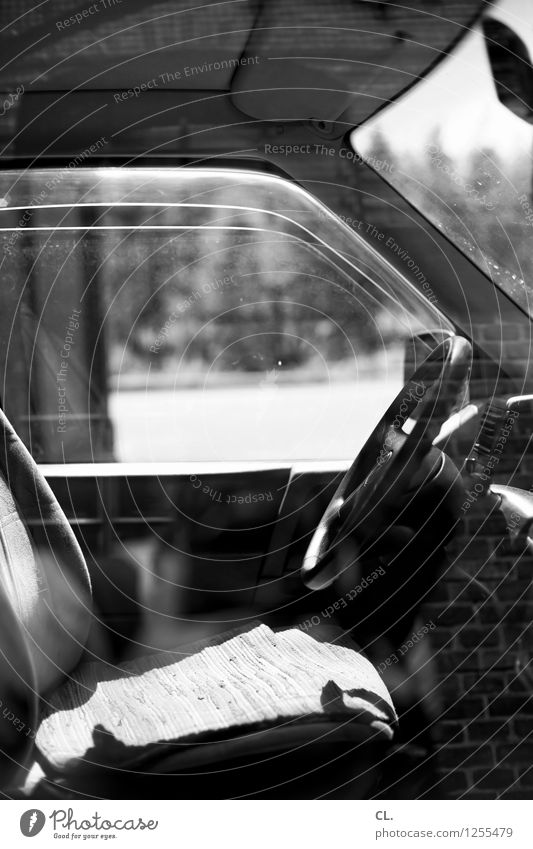 time machine Transport Means of transport Road traffic Motoring Car Handlebars Car Window Break Stagnating Black & white photo Deserted Day Reflection