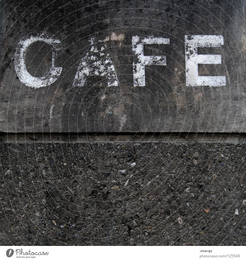 CAFE Wall (building) Facade Gray Letters (alphabet) Typography Café Word To enjoy Caffeine Cappuccino Espresso Nutrition Derelict Characters Beverage