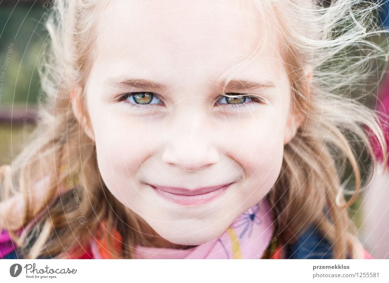Portrait of little girl Beautiful Child Girl 1 Human being Smiling Small Cute cheerful horizontal Colour photo Exterior shot Close-up Portrait photograph