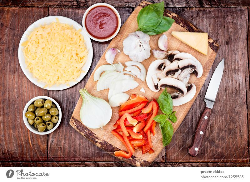 Fresh ingredients for homemade pizza Leaf Food Table Vegetable Mushroom Bowl Meal Dinner Slice Knives Grating Tomato Home Cheese Horizontal