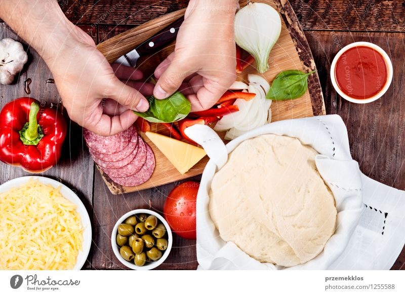 Preparing ingredients for homemade pizza Human being Hand Leaf Food Fresh Table Vegetable Mushroom Bowl Meal Dinner Slice Grating Tomato Home Cheese