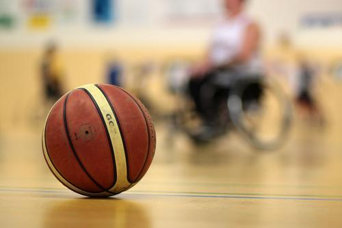 Professional sport with handicap Athletic Fitness Sports Ball sports Basketball wheelchair basketball Sporting event Gymnasium Fight Success Together Yellow