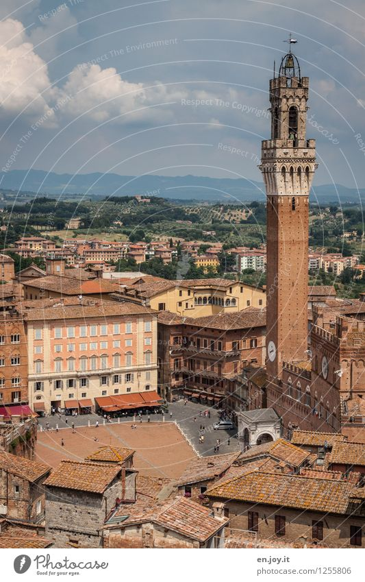 Piazza del Campo Vacation & Travel Tourism Trip Sightseeing City trip Summer vacation Environment Sky Clouds Horizon Siena Tuscany Italy Town Downtown Old town