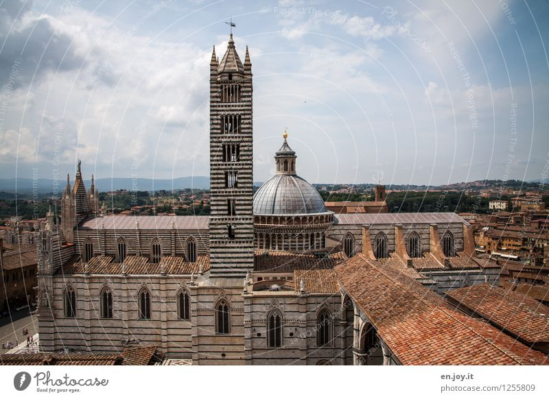 Cattedrale di Santa Maria Assunta Vacation & Travel Tourism Sightseeing City trip Summer Summer vacation Sky Storm clouds Horizon Siena Tuscany Italy Town