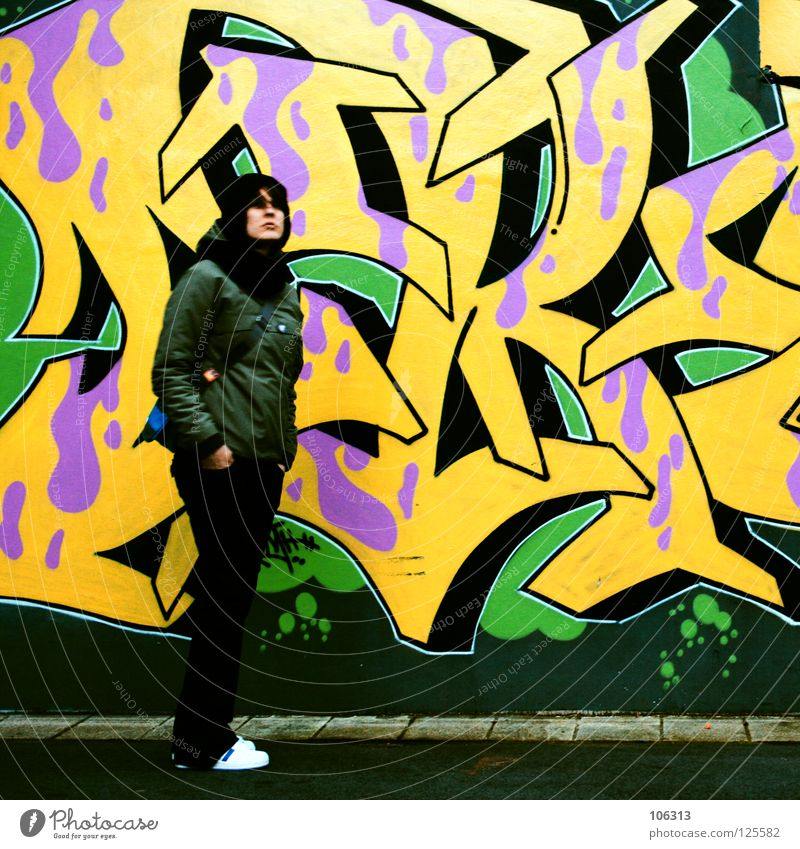 Woman Human being Youth (Young adults) Green Yellow Street Style Movement Graffiti Wait Pink Background picture Lifestyle Fresh Stand Violet