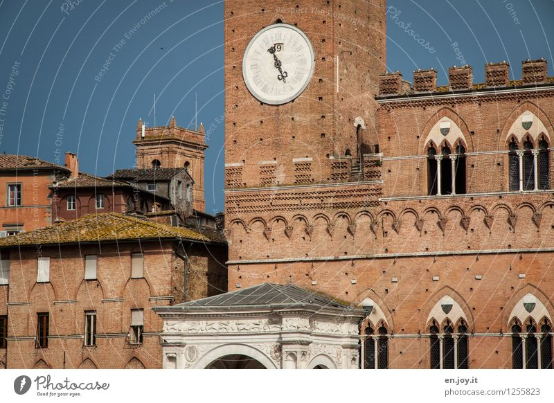16.55 Vacation & Travel Tourism Sightseeing City trip Summer vacation Siena Tuscany Italy Town Old town Palace City hall Tower Manmade structures Building