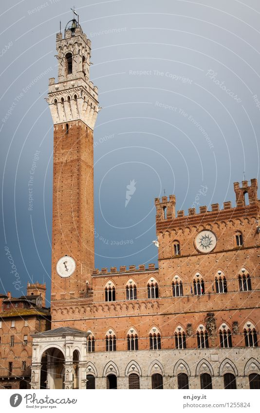 Palazzo Pubblico Vacation & Travel Tourism Sightseeing City trip Summer vacation Sky Storm clouds Siena Tuscany Italy Town Old town Palace City hall Tower