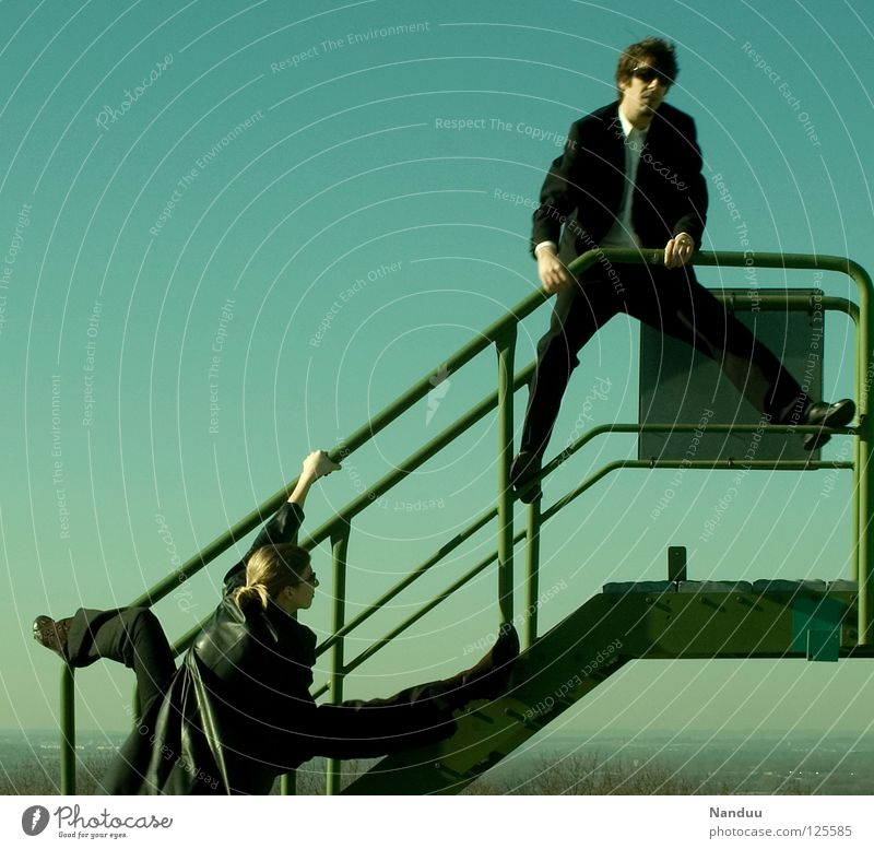 Human being Woman Sky Man Green Above Funny Stairs Masculine Crazy Posture Film industry Handrail Media Stage play Force