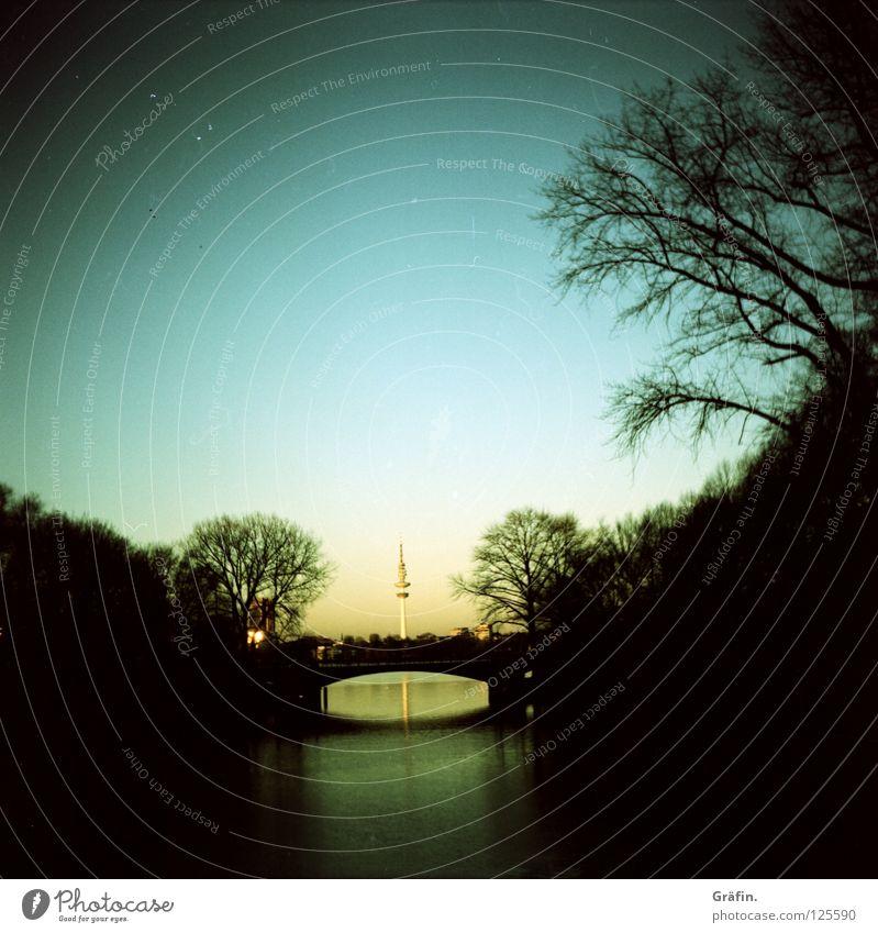 Mundsburg Bridge Uhlenhorst Alster Tree Morning Sunrise Town Dark Hazy Medium format Cross processing Reflection Calm River Hamburg Dawn Sky Water Vantage point