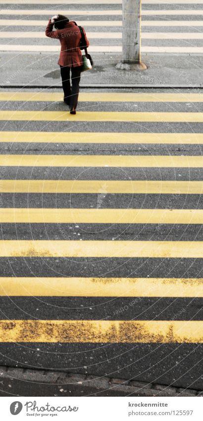 Woman City Yellow Street Going Transport Safety Asphalt Stripe Jacket Bag Pedestrian Intersection Tar Narrow Traverse