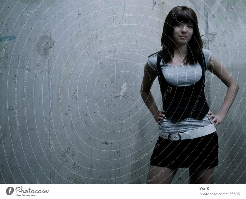 grey in grey II Concrete wall Gray Woman Wall (building) Wall (barrier) Posture Gesture Photo shoot Portrait photograph Mini skirt Dark Neon light Exposure